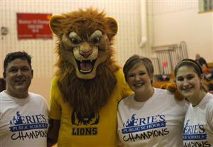 Dr. Badams, LeRoy the NPCA Lion, Ms. Lanich, and student, Dakota Palmer at We Love Erie Public Schools Week