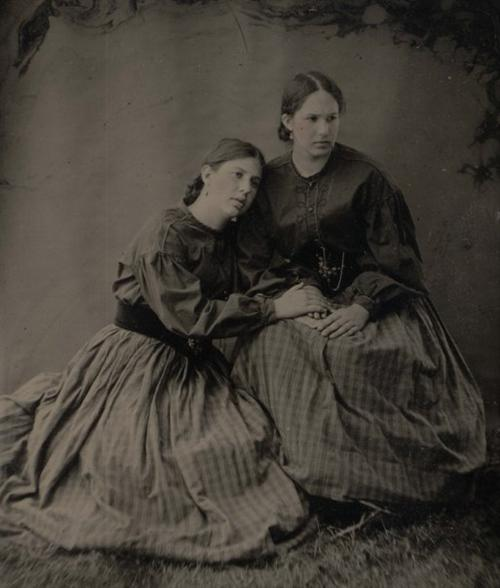 Miss Domowicz (right) with her sister (left) at a Civil War Reenactment, circa 2000. Tintype taken by John Coffer.