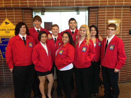 Students in Skills USA uniforms.
