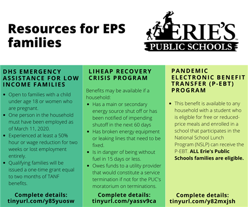 Assistance available to Erie's Public Schools Families