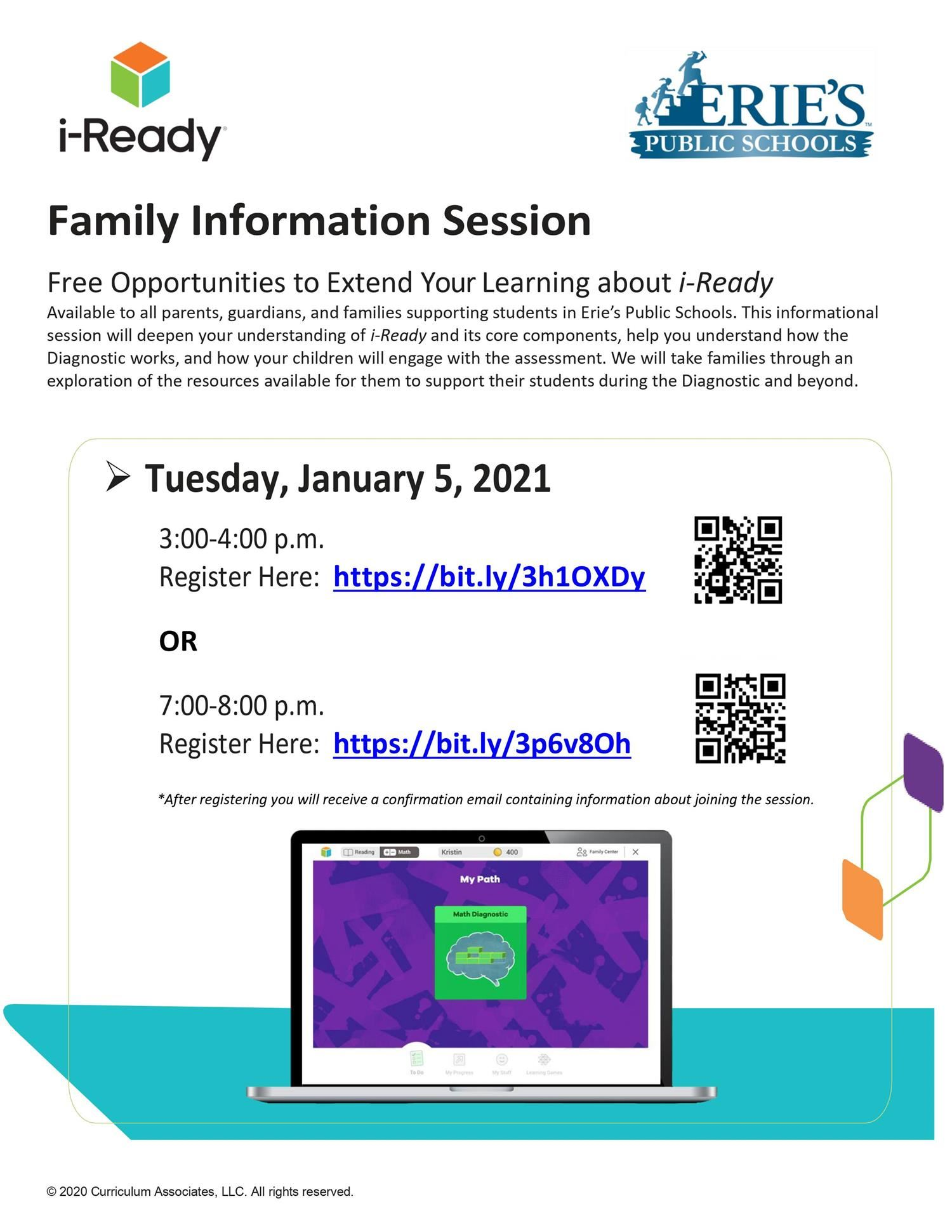 iready family info sessions