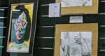 Student artwork on display at Blasco Library